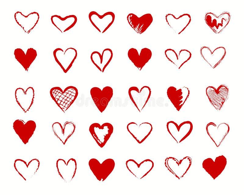 Inzameling van harten de rode tekens vector illustratie