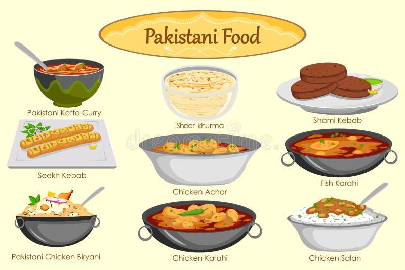 Inzameling van heerlijk Pakistaans voedsel stock illustratie