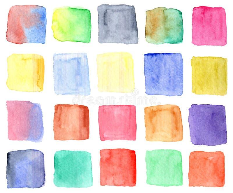 Inzameling van heldere waterverf kleurrijke vierkanten vector illustratie