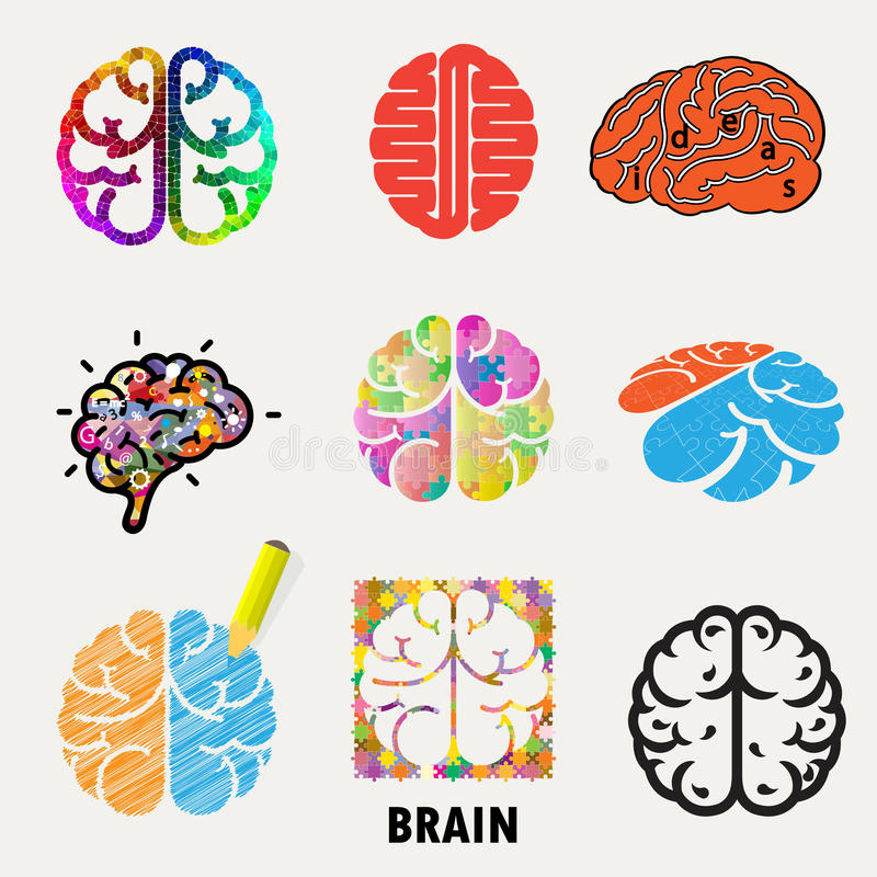 Inzameling van hersenen, verwezenlijking en ideepictogrammen en elementen Creati stock illustratie