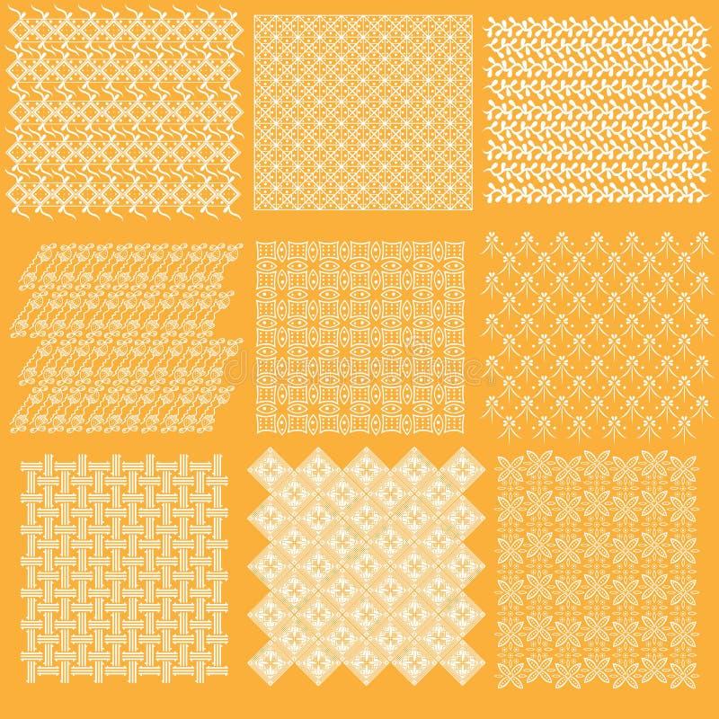 Inzameling 1 van het batik Javanese traditionele patroon stock illustratie