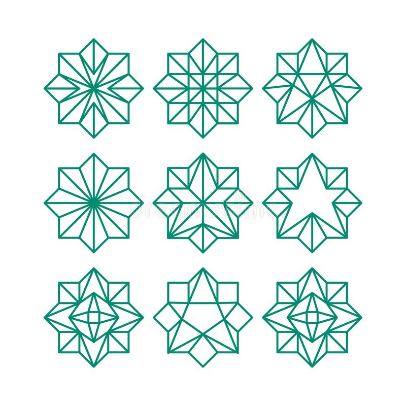 Inzameling van het de sterpictogram van de lijnkunst de geometrische abstracte Groene de contoursterren van het kleuren achthoeki stock illustratie