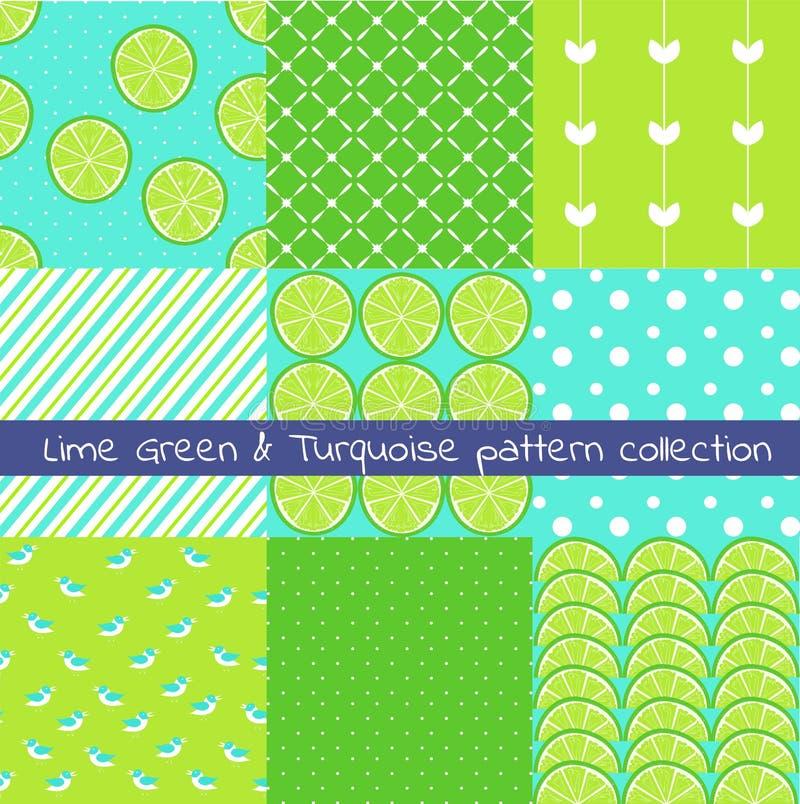 Inzameling van het kalk de groene en turkooise patroon Vectortextuur, druk, document vector illustratie
