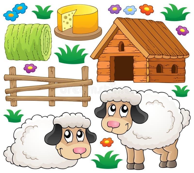 Inzameling 1 van het schapenthema stock illustratie