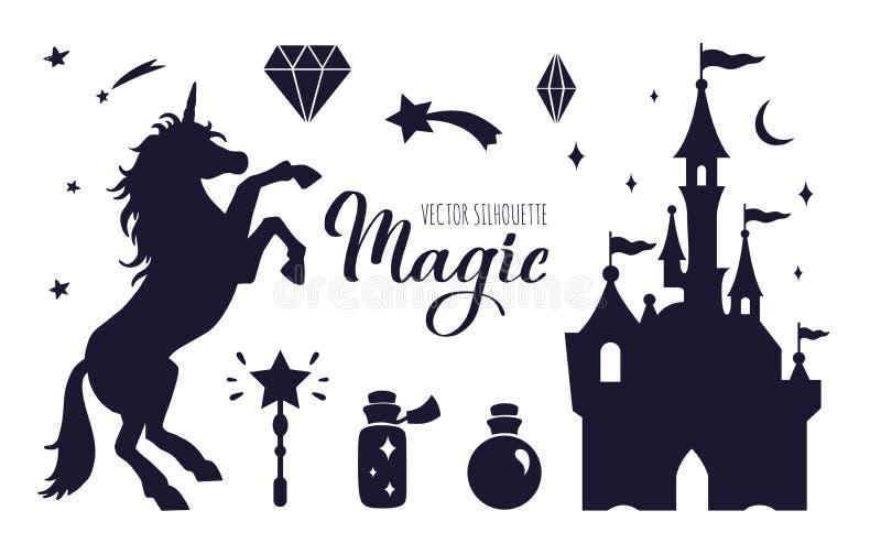 Inzameling van het sprookje de vectorsilhouet met Eenhoorn en Kasteel royalty-vrije illustratie