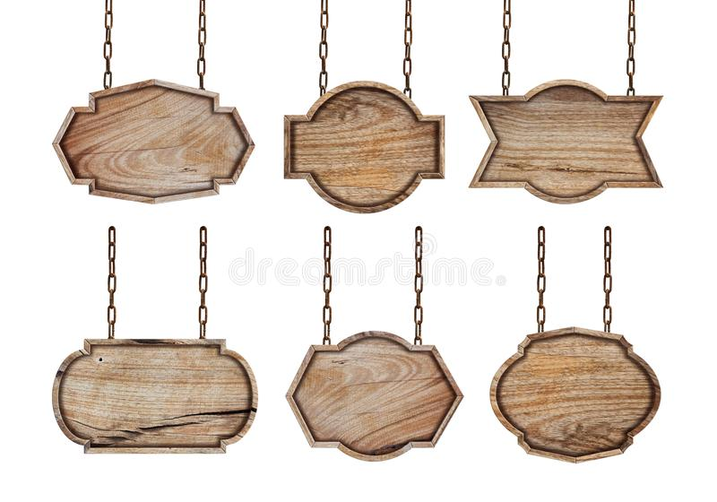 Inzameling van houten tekens met ketting stock fotografie