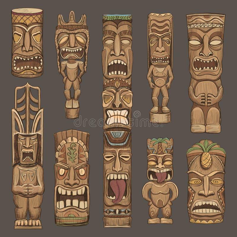 Inzameling van houten tikiidolen royalty-vrije illustratie