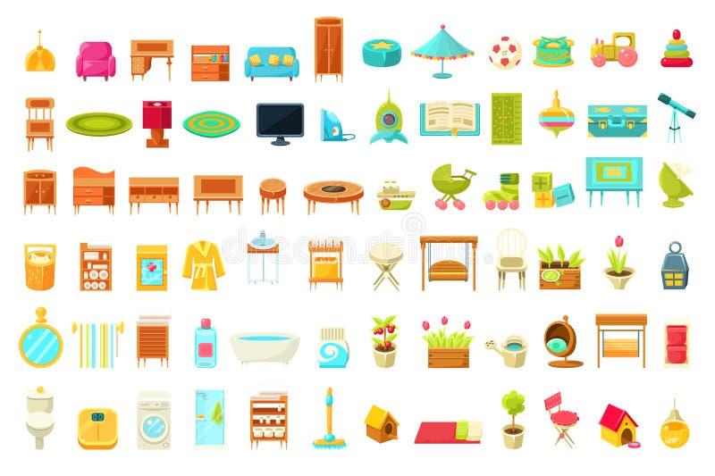 Inzameling van Huismeubilair, de Elementen van Huisbinnenhuisarchitecturen van Woonkamer, Slaapkamer, Badkamers, de Zaal van Kind royalty-vrije illustratie