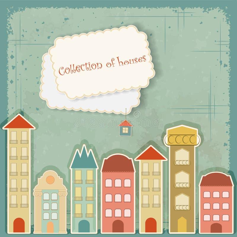 Inzameling van huizen op uitstekende achtergrond stock illustratie