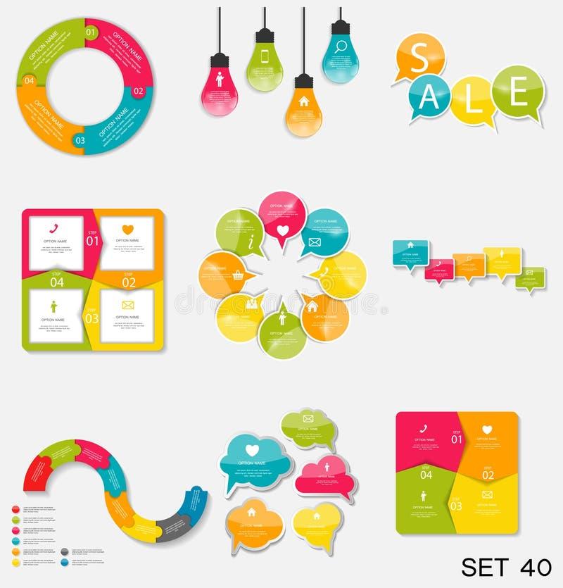 Inzameling van Infographic-Malplaatjes voor Zaken Vectorillustra vector illustratie