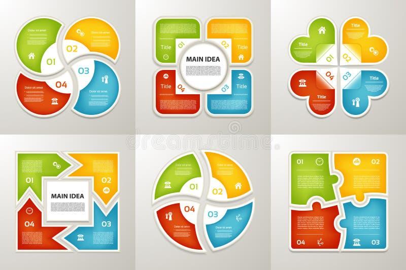 Inzameling van Infographic-Malplaatjes voor Zaken Vier stappen die diagrammen cirkelen Vector illustratie royalty-vrije illustratie