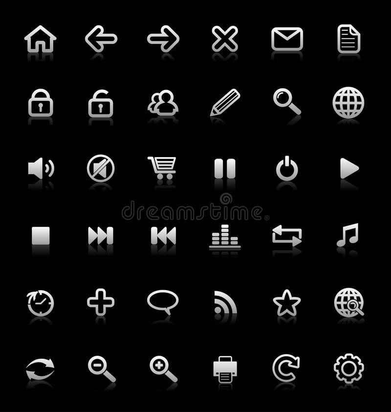 Inzameling van Internet en media pictogrammen. stock illustratie