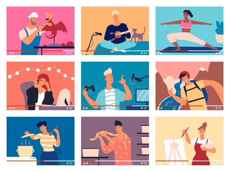 Inzameling van jonge mannen en vrouwen die hun vaardigheden aantonen of door Internet onderwijzen Bundel van videogidsen, DIY vector illustratie