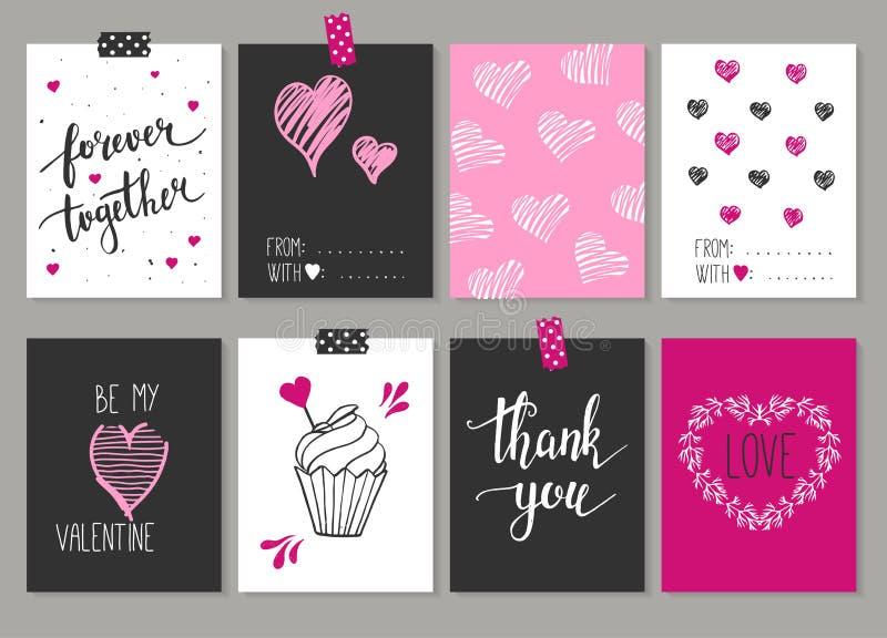 Inzameling van 8 kaarten van liefdeontwerp De dagaffiches Se van Valentine royalty-vrije illustratie