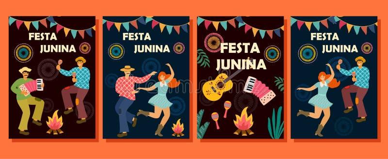 Inzameling van kaarten voor Festa Junina Latijns-Amerikaanse vakantie Vector illustratie Ideemalplaatje voor banner, affiche, pos stock illustratie