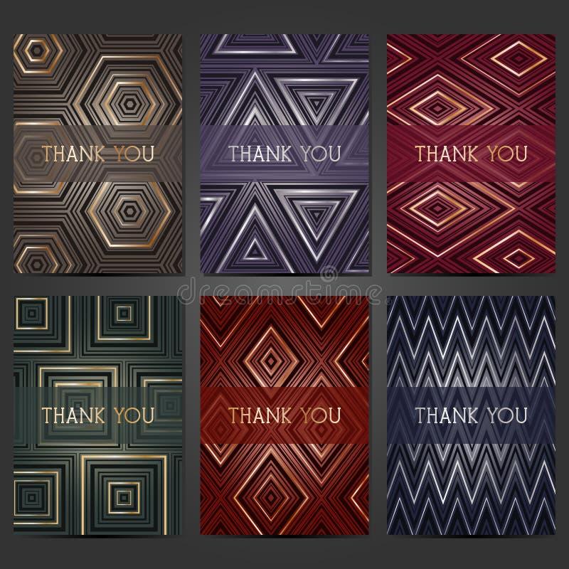 Inzameling van 6 kaartmalplaatjes met geometrisch patroon Voor het huwelijk, huwelijk, sparen de datumkaarten, uitnodigingen, gro vector illustratie