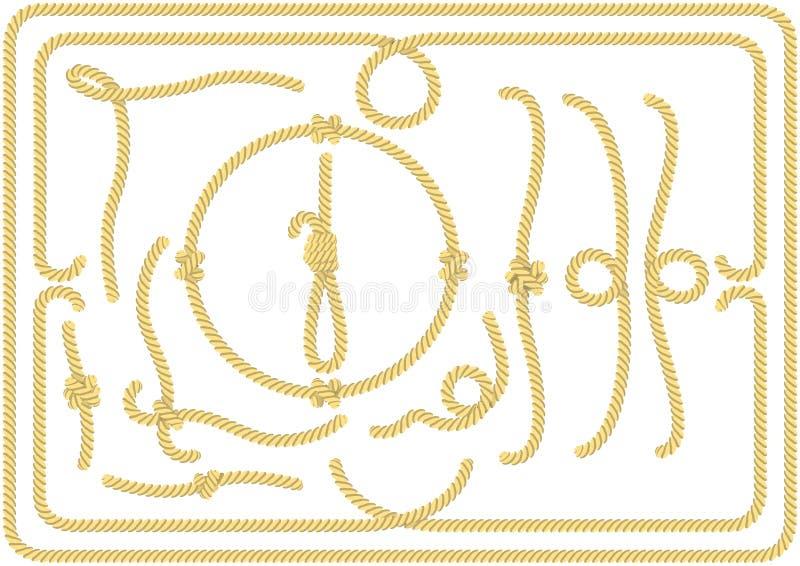 Inzameling van kabelknopen, hoeken en frames stock illustratie