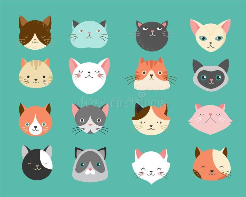 Inzameling van kattenillustraties stock illustratie
