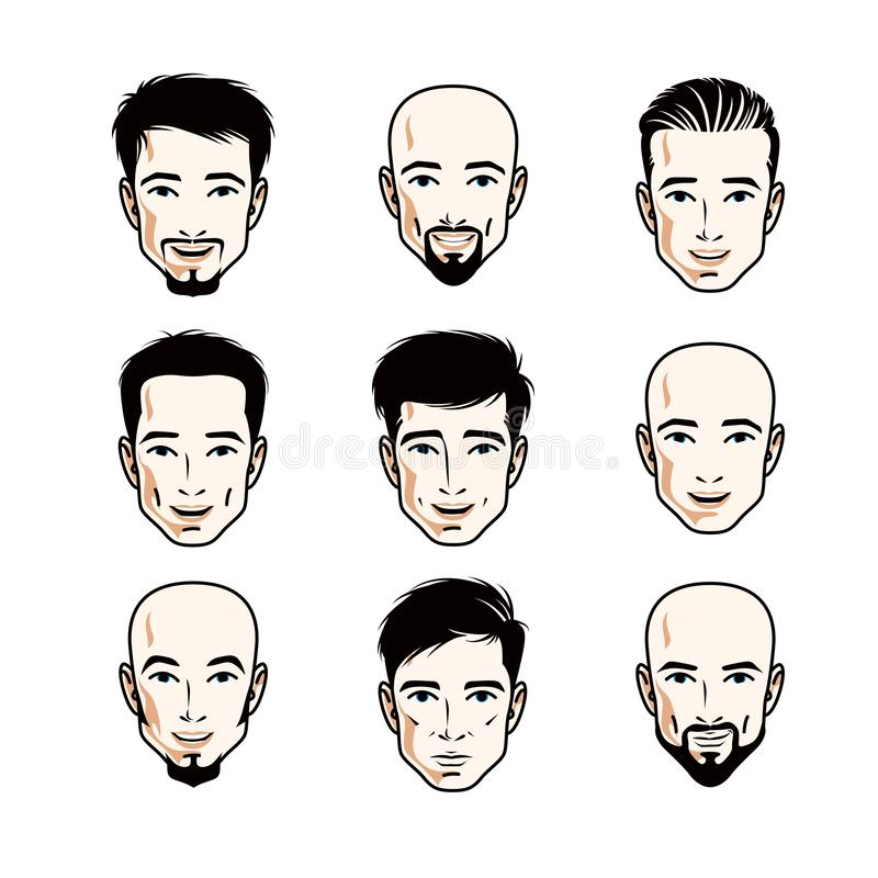 Inzameling van Kaukasische mensengezichten die verschillende emoties uitdrukken vector illustratie