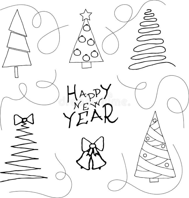 Inzameling van Kerstbomen, modern vlak ontwerp Gelukkige nieuwe jaar-krabbel stijl royalty-vrije illustratie
