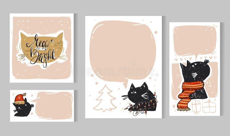 Inzameling van 6 Kerstkaartmalplaatjes Geplaatste Kerstmisaffiches Vector illustratie De inzameling van de de wintervakantie royalty-vrije illustratie