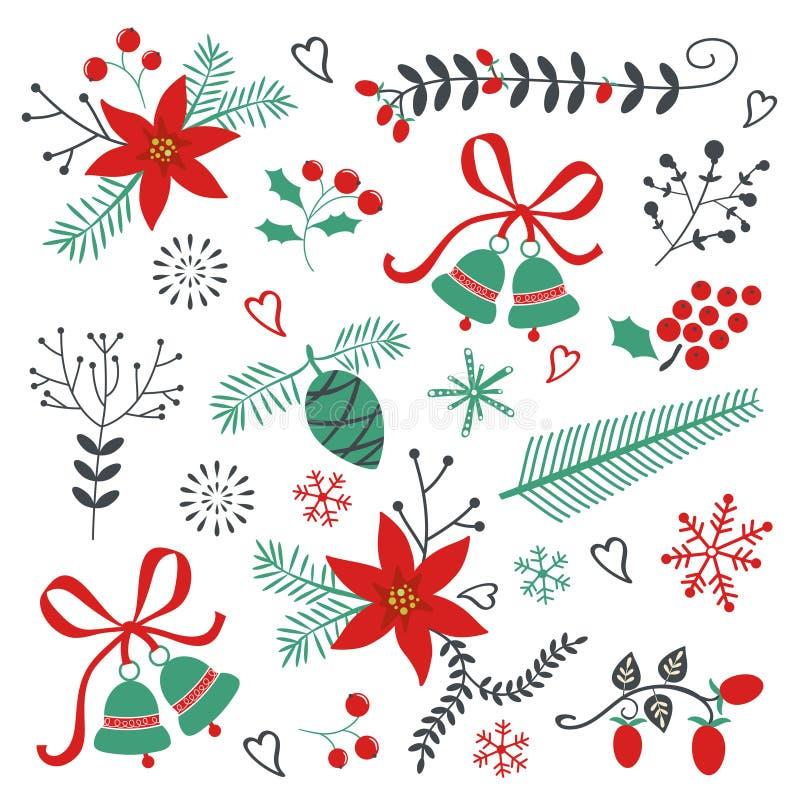 Inzameling van Kerstmis en Nieuwe jaarelementen royalty-vrije illustratie