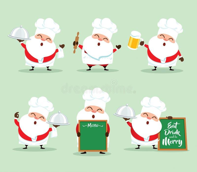 Inzameling van Kerstmis Santa Claus - reeks 3 stock illustratie