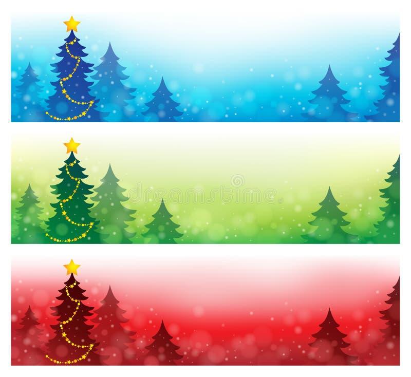 Inzameling 4 van Kerstmisbanners vector illustratie