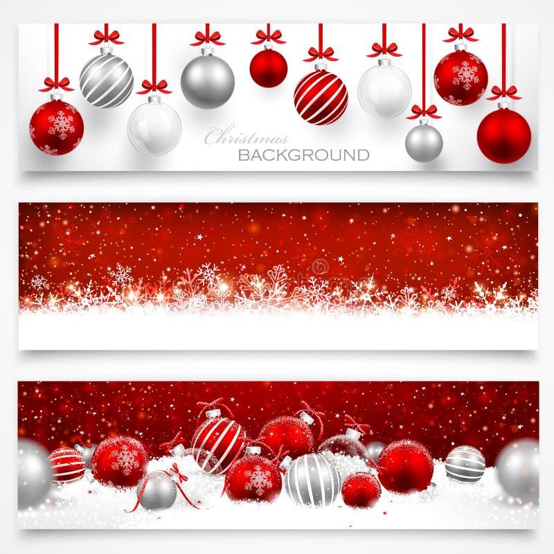 Inzameling van Kerstmisbanners vector illustratie