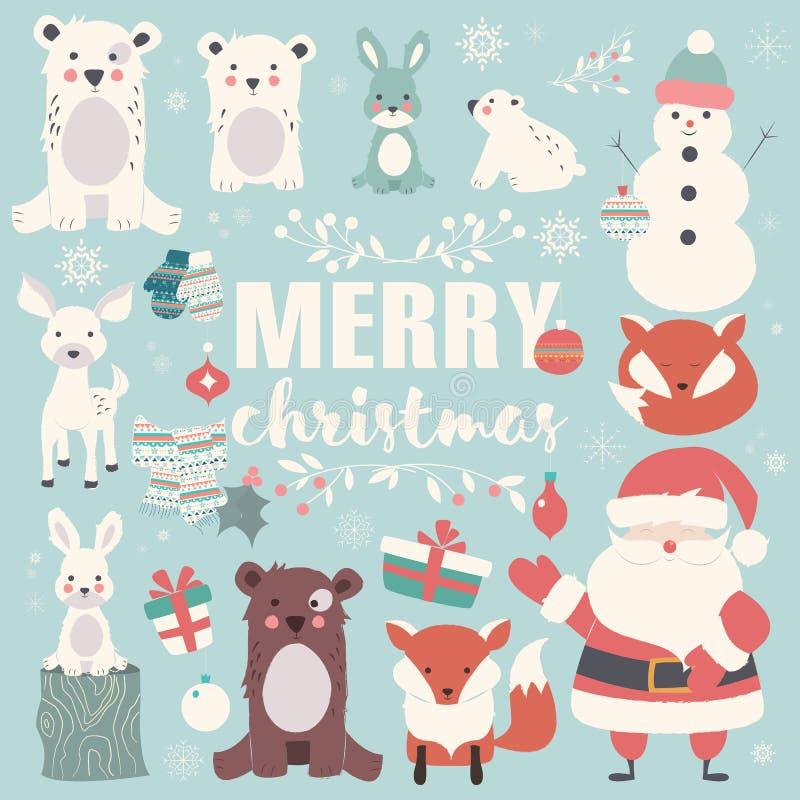 Inzameling van Kerstmisdieren, het van letters voorzien en Santa Claus vector illustratie