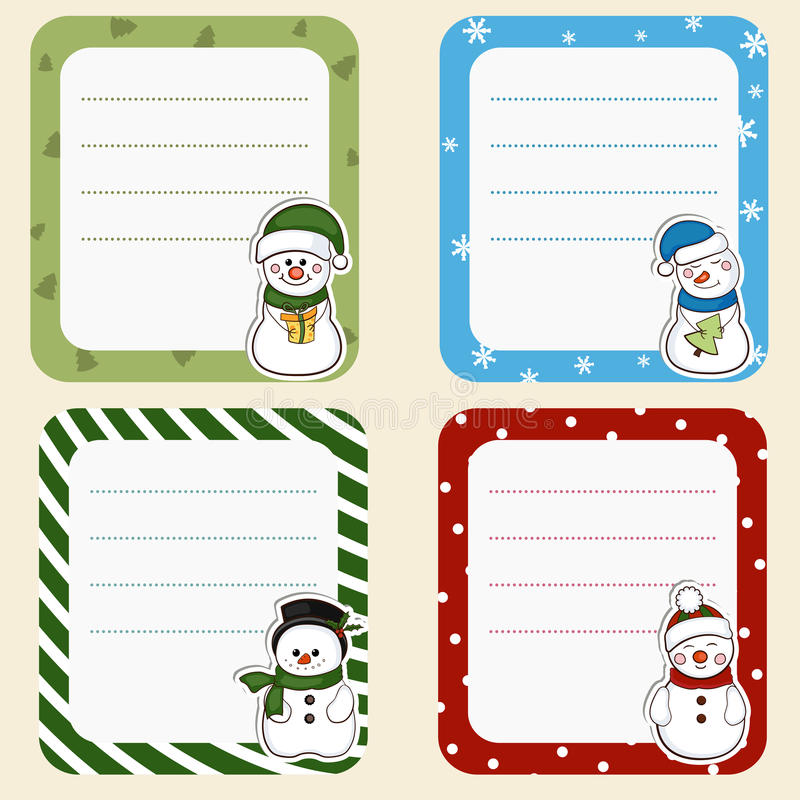 Inzameling van Kerstmiskaders Leuke kaders met sneeuwmannen vector illustratie