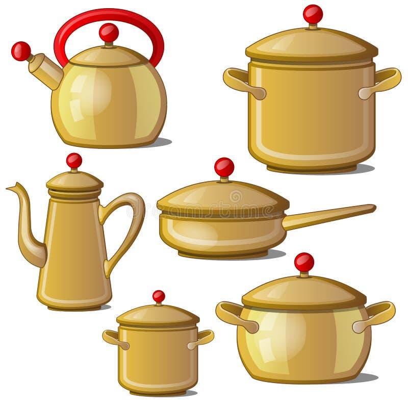 Inzameling van ketel, pan, koppen en een kruik Vector royalty-vrije illustratie
