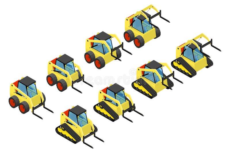 Inzameling van kleine gele laders stock illustratie