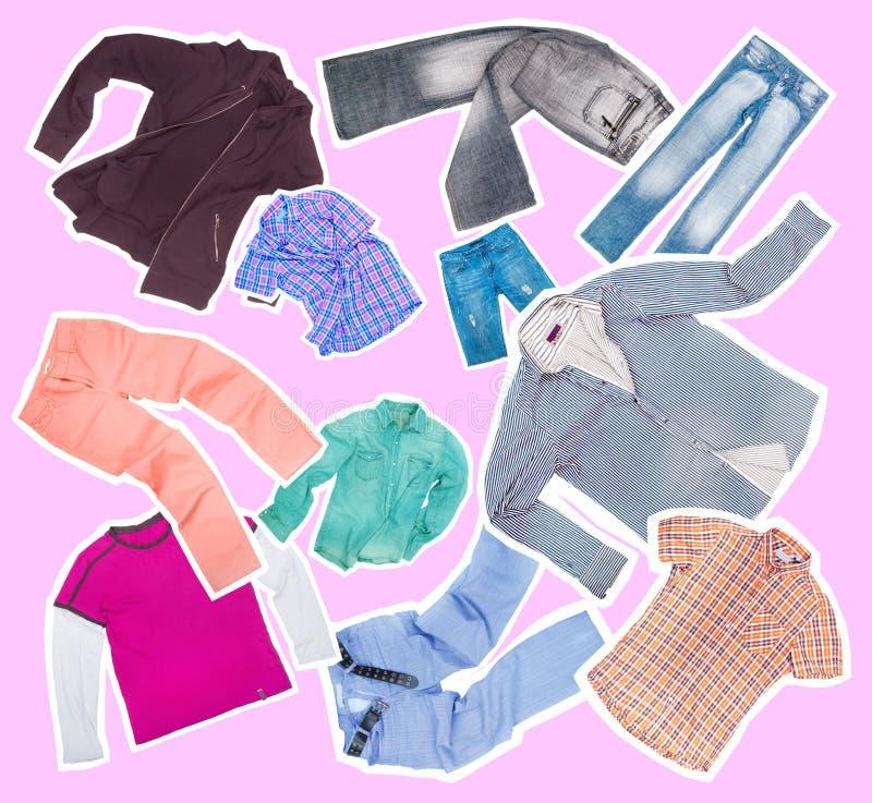 Inzameling van kleren stock foto's