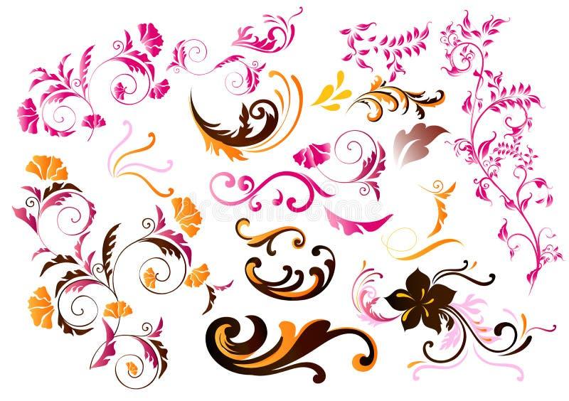 Inzameling van kleuren kalligrafische vectorelementen stock illustratie