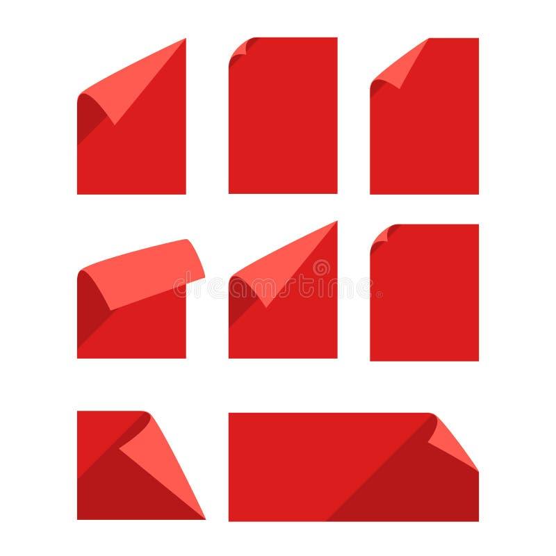 Inzameling van kleuren lege document bladen vector illustratie