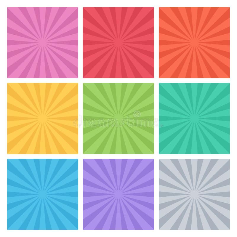 Inzameling van kleuren vectorstralen Reeks van achtergrondstraal royalty-vrije illustratie