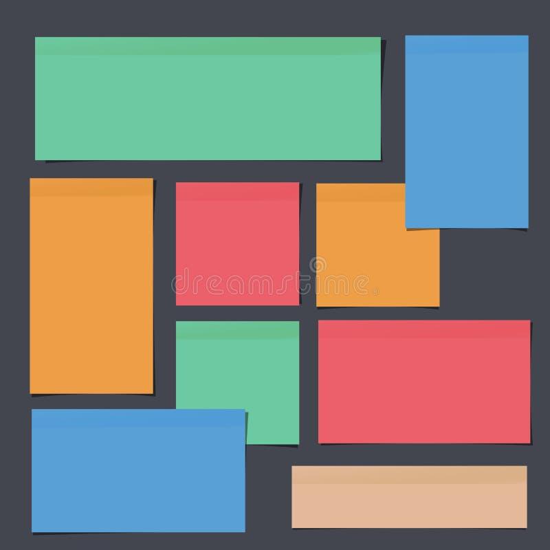 Inzameling van kleurrijk helder die notadocument op zwarte achtergrond wordt geplakt vector illustratie