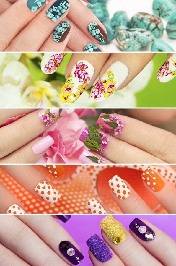 Inzameling van in kleurrijke diverse manicure stock afbeelding