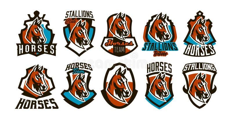 Inzameling van kleurrijke emblemen, stickers, emblemen van een paard Mooie hengst, paardenrennen, snel dier, mascotte van vector illustratie