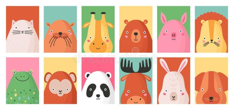Inzameling van kleurrijke kaartmalplaatjes met portretten van verschillende grappige aanbiddelijke wilde en geïsoleerde huisdiere royalty-vrije illustratie