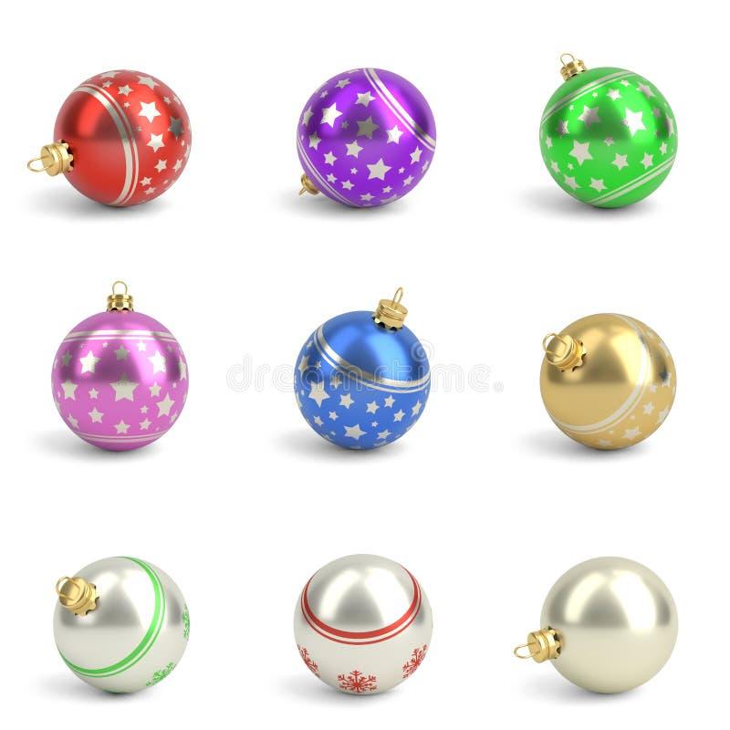 Inzameling van kleurrijke Kerstmisballen Geïsoleerd wit 3d geef terug vector illustratie