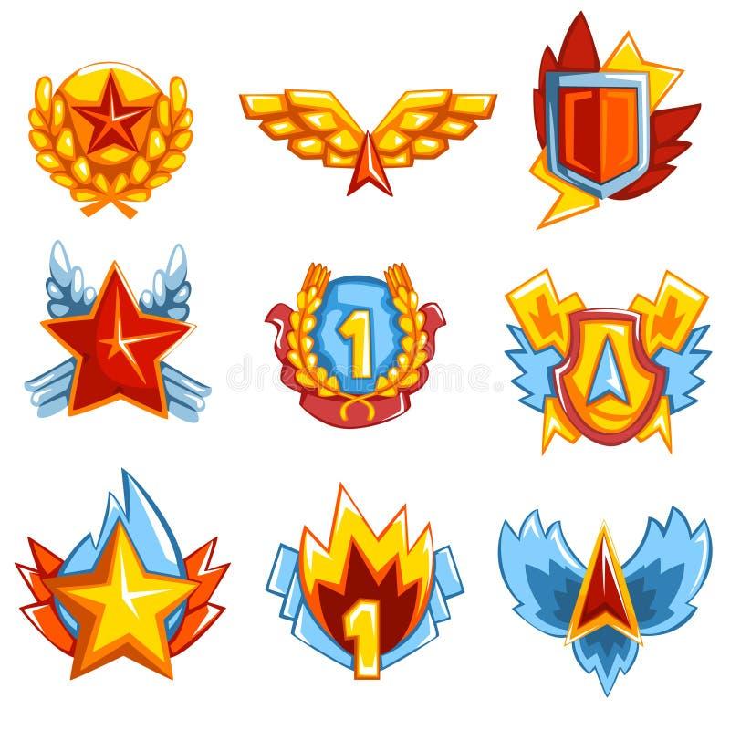 Inzameling van kleurrijke medailles in diverse vormen Glanzende toekenning voor eer of het deelnemen aan competities Grafisch Ont stock illustratie