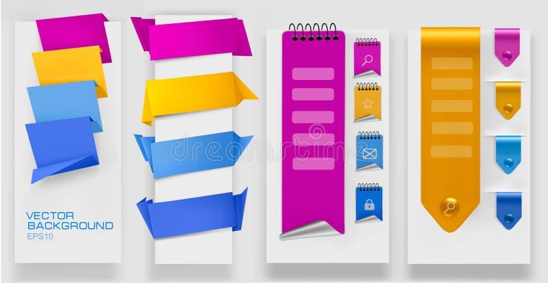 Inzameling van kleurrijke origamidocument banners. royalty-vrije illustratie