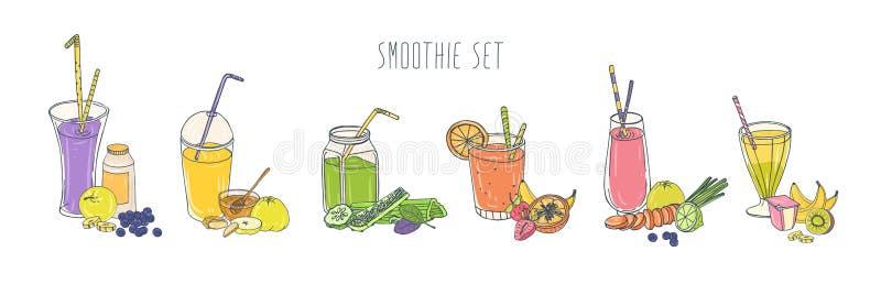 Inzameling van kleurrijke verfrissende frisdranken in glazen en kruiken met stro en ingrediënten Reeks smoothies wordt gemaakt di stock illustratie