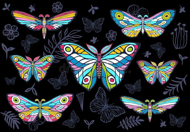 Inzameling van kleurrijke vlinders op een bloemenachtergrond, vecto royalty-vrije illustratie