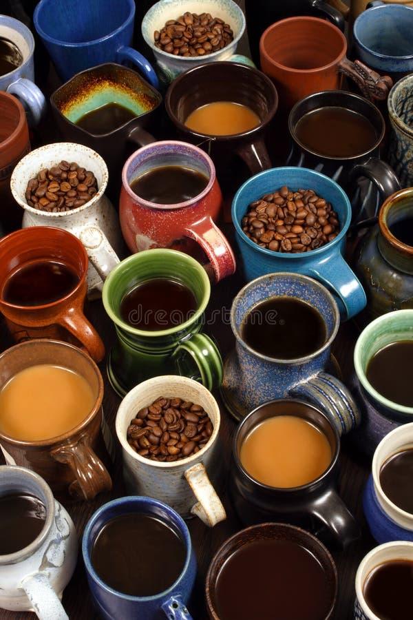 Inzameling van koffiemokken royalty-vrije stock afbeeldingen