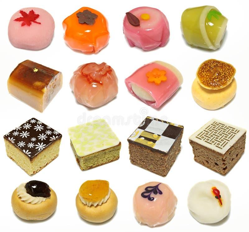 Inzameling van Koreaanse traditionele cakes stock afbeeldingen