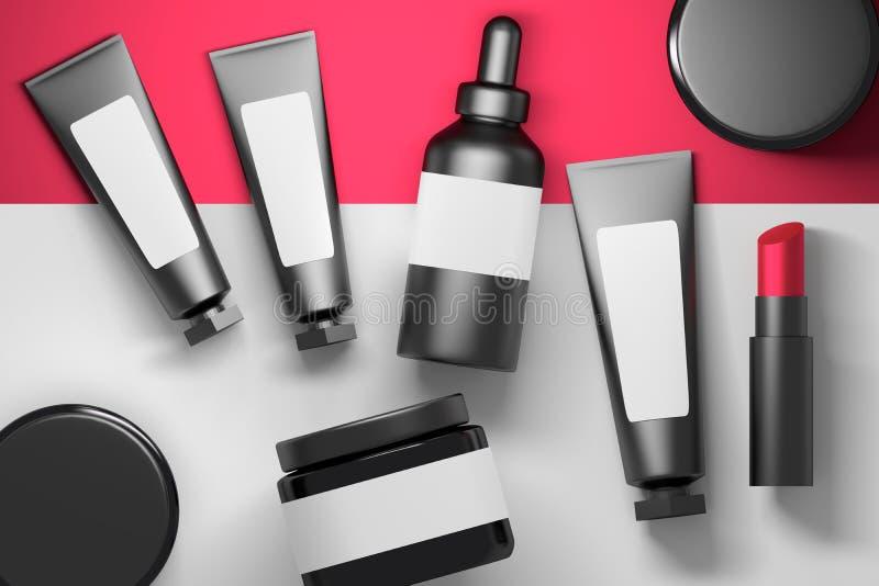 Inzameling van kosmetische verpakkende flessen met lippenstift royalty-vrije illustratie