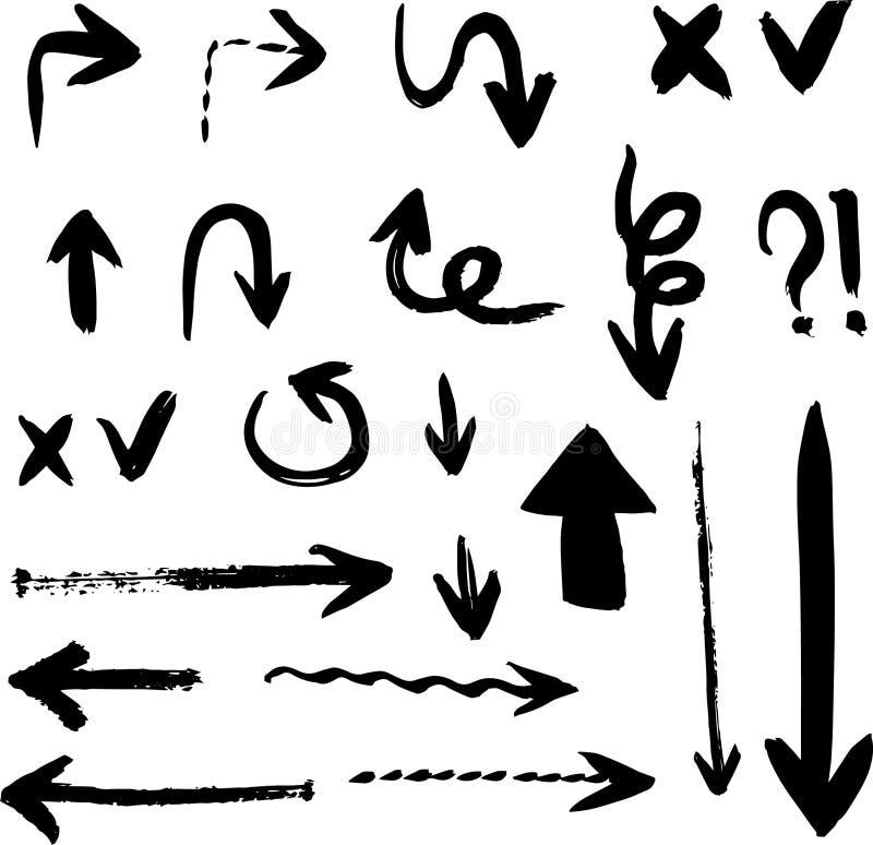 Inzameling van krabbel de vectorpijlen Geïsoleerde Hand getrokken reeks vector illustratie